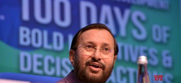 New Delhi: Union Minister Prakash Javadekar addresses a press conference on completion of 100 days of the Modi Government, in New Delhi on Sep 8, 2019. (Photo: IANS)