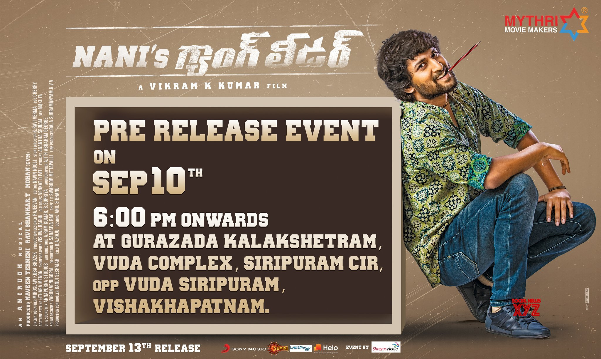 Nani's Gang Leader Pre Release Event Will Be Held In Vizag Poster