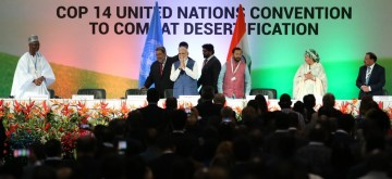 Greater Noida: Prime Minister Narendra Modi at the 14th Conference of Parties (COP14) to United Nations Convention to Combat Desertification (UNCCD) in Greater Noida, Uttar Pradesh on Sept. 9, 2019. (Photo: Amlan Paliwal/IANS)