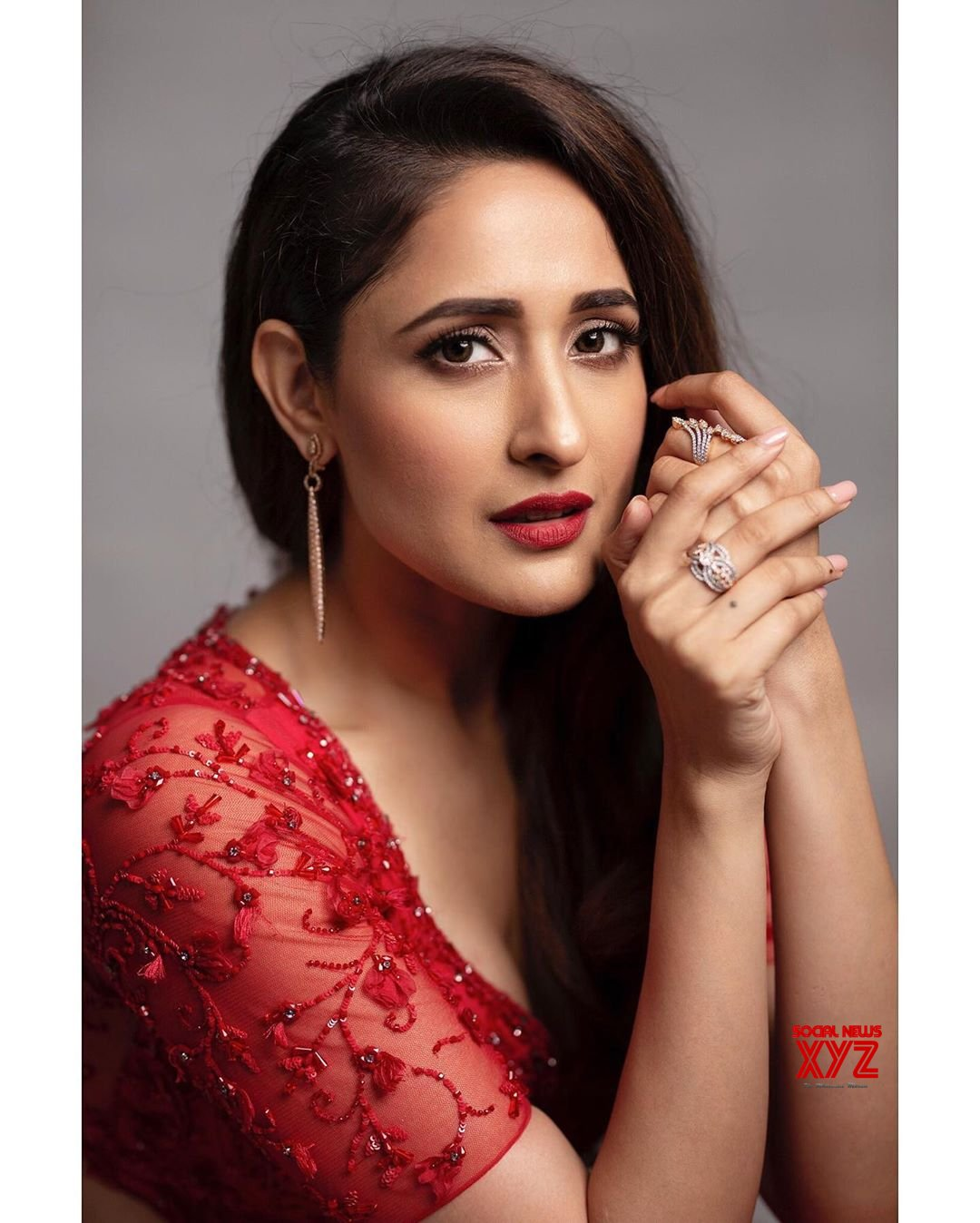 Actress Pragya Jaiswal Stunning Stills In Red