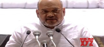 New Delhi: Union Home Minister Amit Shah addresses during a condolence meet organised in the remembrance of Former Finance Minister Arun Jaitley, in New Delhi oon Sep 10, 2019. (Photo: IANS)