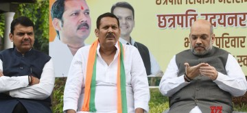 New Delhi: NCP's Satara MP Chhatrapati Udayanraje Bhosale joins BJP in the presence of Union Home Minister Amit Shah and Maharashtra Chief Minister Devendra Fadnavis, in New Delhi on Sep 14, 2019. (Photo: IANS)