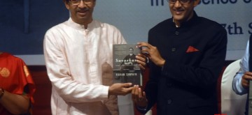 "Mumbai: Shiv Sena chief Uddhav Thackeray unveils author Vikram Sampath's book ""Savarkar Echoes from a Forgotten Past"" at Savarkar Smarak Auditorium in Mumbai on Sep 17, 2019. (Photo: IANS)"