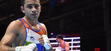 Ekaterinburg: India's Amit Panghal during the AIBA Men's World Championships quarter-finals match in Ekaterinburg, Russia on Sep 17, 2019. (Photo: IANS)