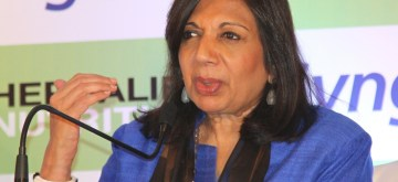 Bengaluru: Biotech entrepreneur Kiran Mazumdar-Shaw addresses during a press conference of the partnership announcement between Herbalife Nutrition and Syngene International in Bengaluru on March 2, 2017. (Photo: IANS)
