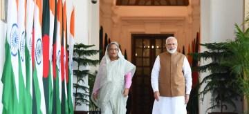 New Delhi: Prime Minister Narendra Modi and Bangladesh Prime Minister Sheikh Hasina during a meeting in New Delhi on Oct 4, 2019. (Photo: IANS/MEA)