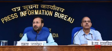 New Delhi: Union Environment, Forest and Climate Change and Information and Broadcasting Minister Prakash Javadekar briefs the media on Cabinet decisions, in New Delhi on Oct 9, 2019. (Photo: IANS/PIB)