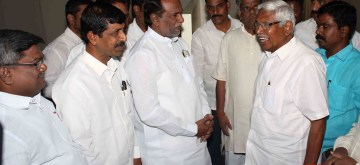 Hyderabad: A BJP delegation led by Telangana party president K. Laxman meets Telangana Jana Samithi (TJS) founder M. Kodandaram in Hyderabad on Oct 11, 2019. (Photo: IANS)