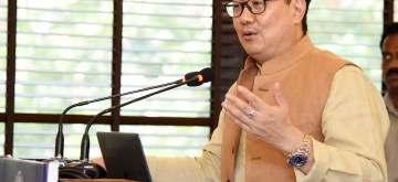 New Delhi: Union MoS Youth Affairs and Sports (Independent Charge) and Minority Affairs, Kiren Rijiju addresses at the meeting of the National Sports Federations (NSFs) to discuss National Sports code and other issues, in New Delhi on Oct 11, 2019. (Photo: IANS/PIB)