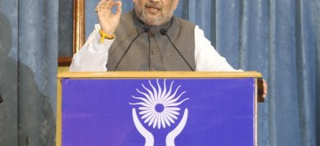 New Delhi: Union Home Minister Amit Shah addresses at the 26th Foundation Day of the National Human Rights Commission (NHRC), in New Delhi on Oct 12, 2019. (Photo: IANS/PIB)