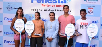 New Delhi: Winners of Fenesta Open Junior National Tennis championship in the Under-16 category - Reshma Maruri and Karan Singh, Aayush Bhat and Pavitra Parikh in the Under-14 category, in New Delhi on Oct 12, 2019. (Photo: IANS)