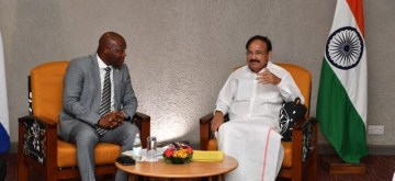 New Delhi: Vice President M. Venkaiah Naidu meets Acting Speaker of the National Assembly Mathew Sahr Nyuma in Freetown, Sierra Leone on Oct 14, 2019. (Photo: IANS/MEA)