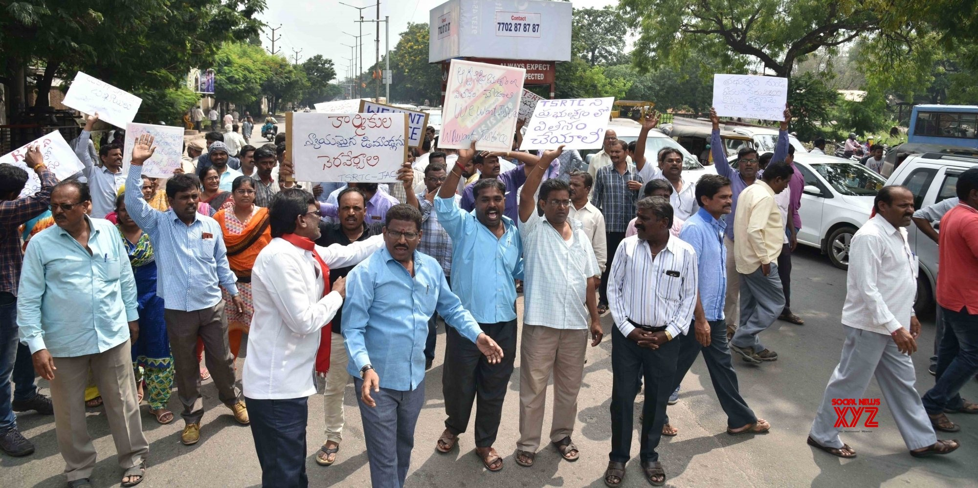 RTC employees not allowed protest march in Hyderabad
