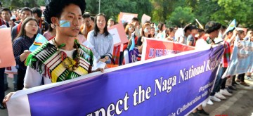 New Delhi: Students from Nagaland under the banner of Naga Students' Federation (NSF) participate in a protest rally at Jantar Mantar in New Delhi on Sep 25, 2019. (Photo: IANS)