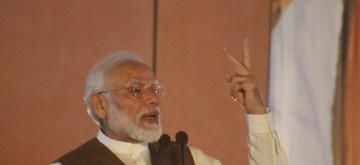 New Delhi: Prime Minister and BJP leader Narendra Modi addresses party cadres at BJP Headquarters in New Delhi on Oct 24, 2019. (Photo: IANS)