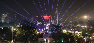 New Delhi:  Laser show organised by the Delhi Government in a bid to encourage a cracker-free Diwali underway at Connaught Place in New Delhi on Oct 26, 2019. (Photo: Bidesh Manna/IANS)