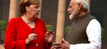 New Delhi: Prime Minister Narendra Modi welcomes German Chancellor Dr. Angela Merkel at the ceremonial reception organsied for her at Rashtrapati Bhavan in New Delhi on Nov 1, 2019. (Photo: IANS/PIB)