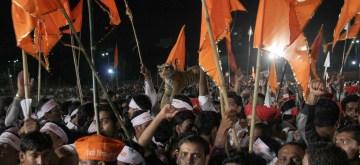 Shiv Sainiks during Shiv Sena's Dussehra rally held at Shivaji Park in Mumbai on Oct. 13, 2013. (Photo : IANS)