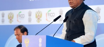 Moscow: Defence Minister Rajnath Singh addresses at the 'India-Russia Defence Industry Cooperation Conference' in Moscow, Russia on Nov 5, 2019. (Photo: IANS/PIB)