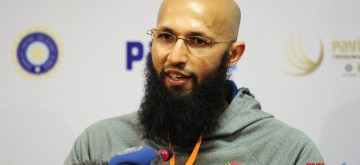 Bengaluru: South African captain Hashim Amla addresses during a press conference at M Chinnaswamy Stadium in Bengaluru, on Nov 18, 2015. (Photo: IANS)
