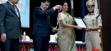 Faridabad: Union Finance and Corporate Affairs Minister Nirmala Sitharaman at the Passing Out Parade Ceremony of 69th Batch of IRS (Customs & Central Excise) at National Academy of Customs, Indirect Taxes and Narcotics in Faridabad, Haryana on Nov 8, 2019. (Photo: IANS/PIB)