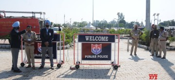 Dera Baba Nanak: Security beefed up outside the Integrated Check Post (ICP) of the Kartarpur Corridor at Dera Baba Nanak in Gurdaspur, Punjab inaugurated by Prime Minister Narendra Modi on Nov 9, 2019. (Photo: IANS)