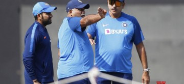 Nagpur: Indian head coach Ravi Shastri, bowling coach Bharat Arun and captain Rohit Sharma during a practice session ahead of the third T20I match against Bangladesh, at Vidarbha Cricket Association Stadium in Nagpur, Maharashtra on Nov 9, 2019. (Photo: Surjeet Yadav/IANS)