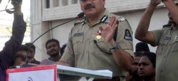 Hyderabad: Hyderabad Police Commissioner Anjani Kumar addresses during the 5th anniversary celebrations of Hyderabad SHE teams, at Charminar on Oct 23, 2019. (Photo: IANS)