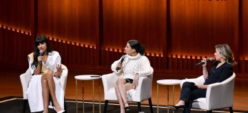 NEW YORK, NEW YORK - NOVEMBER 10: Jameela Jamil, Ilana Glazer and Justine Harman speak onstage during the Way More Than Funny panel at the 2019 Glamour Women Of The Year Summit at Alice Tully Hall on November 10, 2019 in New York City. (Photo by Craig Barritt/Getty Images for Glamour)