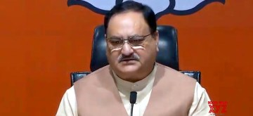 New Delhi: BJP working president J.P. Nadda addresses a press conference on Jharkhand Assembly Election 2019 at BJP headquarters in New Delhi on Nov 10, 2019. (Photo: IANS)
