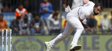Indore: India's Mohammed Shami in action on Day 1 of the 1st Test match between India and Bangladesh at Holkar Cricket Stadium in Indore, Madhya Pradesh on Nov 14, 2019. (Photo: Surjeet Yadav/IANS)