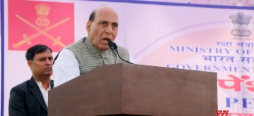 Lucknow: Defence Minister Rajnath Singh addresses the 172nd Defence Pensioners Adalat in Lucknow on Nov 23, 2019. (Photo: IANS/PIB)