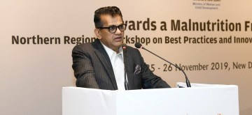 New Delhi: NITI Aayog CEO Amitabh Kant addresses at the inaugural session of the 'Towards a Malnutrition Free India' a Northern Regional Workshop on Best Practices & Innovations from Poshan Abhiyaan, organised by ORF, in New Delhi on Nov 25, 2019. (Photo: IANS/PIB)