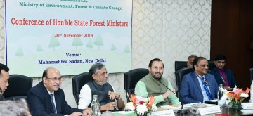 New Delhi: Union Environment, Forest and Climate Change, Information and Broadcasting and Heavy Industries and Public Enterprise Minister Prakash Javadekar chairs the meeting of the State Forest Ministers, in New Delhi on Nov 30, 2019. (Photo: IANS/PIB)