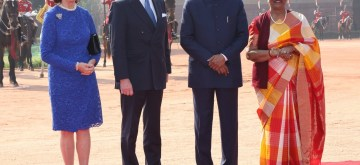 New Delhi: President Ram Nath Kovind and his wife Savita Kovind with King Carl XVI Gustaf and Queen Silvia of Sweden during a Ceremonial Reception accorded to them at the Rashtrapati Bhavan in New Delhi on Dec 2, 2019. (Photo: Amlan Paliwal/IANS)