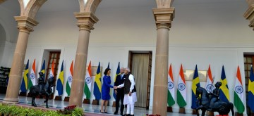 Prime Minister Narendra Modi receives King Carl XVI Gustaf and Queen Silvia of Sweden on their arrival to meet him at Hyderabad House in New Delhi on Dec 2, 2019. (Photo: IANS