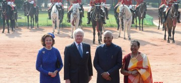 New Delhi: President Ram Nath Kovind and his wife Savita Kovind with King Carl XVI Gustaf and Queen Silvia of Sweden during a Ceremonial Reception accorded to them at the Rashtrapati Bhavan in New Delhi on Dec 2, 2019. (Photo: IANS/RB)