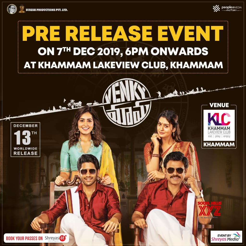 Venky Mama Pre Release Event On 7th Dec At Khammam Lake View Club