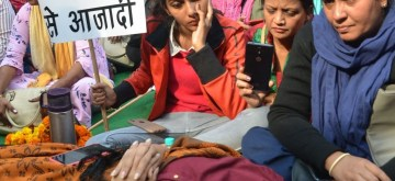 New Delhi: Delhi Commission for Woman (DCW) chief Swati Maliwal sit on an indefinite hunger strike at Raj Ghat against the gruesome gang rape and murder of a woman veterinarian in Hyderabad; in New Delhi on Dec 4, 2019. (Photo: IANS)