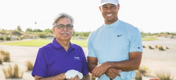 Bahamas: Ace golfer Tiger Woods and Hero MotoCorp Chairman Pawan Munjal during the Hero World Challenge 2019 at Albany Championship Course in the Bahamas on Dec 4, 2019. (Photo: IANS)