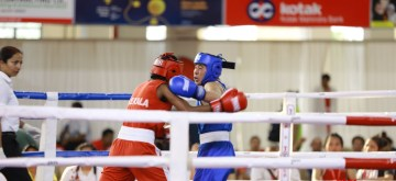 Kannur: Boxers in action on the second day of 4th Elite Women's National Boxing Championships at the Mundayad Indoor Stadium in Kannur, Kerala on Dec 4, 2019. (Photo: IANS)