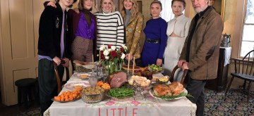 """CONCORD, MA - DECEMBER 04:  Timothee Chalamet, Saoirse Ronan, Greta Gerwig, Laura Dern, Florence Pugh, Eliza Scanlan and Chris Cooper attend  the 'Little Women"""" Orchard House photo call at the Louisa May Alcott Orchard House on December 4, 2019 in Concord, Massachusetts.  (Photo by Paul Marotta/Getty Images for Sony Pictures Entertainment)"""