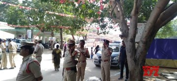Mahabubnagar: Security beefed up at Government District Hospital in Mahabubnagar district where the post-mortem of the four Hyderabad gang rape-murder accused was carried out, ahead of the arrival of a team of National Human Rights Commission (NHRC) to examine the bodies, on Dec 7, 2019. (Photo: IANS)