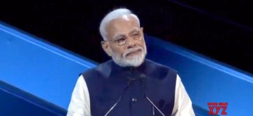 Riyadh: Prime Minister Narendra Modi addresses at the Future Investment Initiative Forum in Riyadh, Saudi Arabia on Oct 29, 2019. (Photo: IANS)