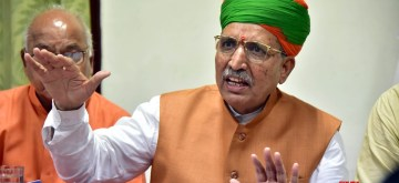 Bikaner: Union MoS Water Resources, River Development and Ganga Rejuvenation and Parliamentary Affairs Minister Arjun Ram Meghwal addresses a press conference in Bikaner, on Aug 10, 2019. (Photo: IANS)