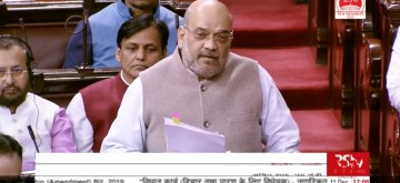 New Delhi: Union Home Minister Amit Shah speaks on the Citizenship Amendment Bill 2019 in the Rajya Sabha during the winter session of Parliament, on Dec 11, 2019. (Photo: IANS/RSTV)