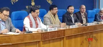 New Delhi: Union Environment, Forest and Climate Change and Information and Broadcasting Minister Prakash Javadekar, Union Petroleum & Natural Gas and Steel Minister Dharmendra Pradhan and Union Parliamentary Affairs Minister Pralhad Joshi at a Cabinet briefing, in New Delhi on Jan 8, 2020. (Photo: IANS/PIB)
