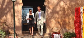 RABAT, Feb. 25, 2019 (Xinhua) -- The UK's Prince Harry and his wife Meghan attend an event to meet with local artisans and young social entrepreneurs in the Andalusian Gardens in Rabat, Morocco, on Feb. 25, 2019. (Xinhua/IANS)