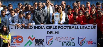 New Delhi: Delhi MP Meenakshi Lekhi and Football Delhi President Shaji Prabhakaran at the launch of first edition of U-17 Khelo India Girls Football League at the Jawaharlal Nehru Stadium in New Delhi on Jan 11, 2020. (Photo: IANS)