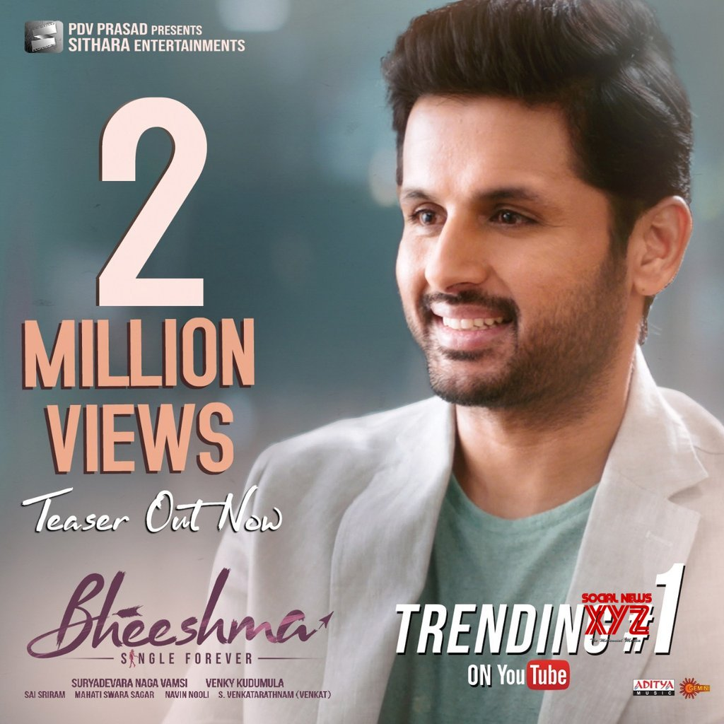 Nithiin And Rashmika Mandanna S Bheeshma Movie Teaser 2 Million Poster Social News Xyz